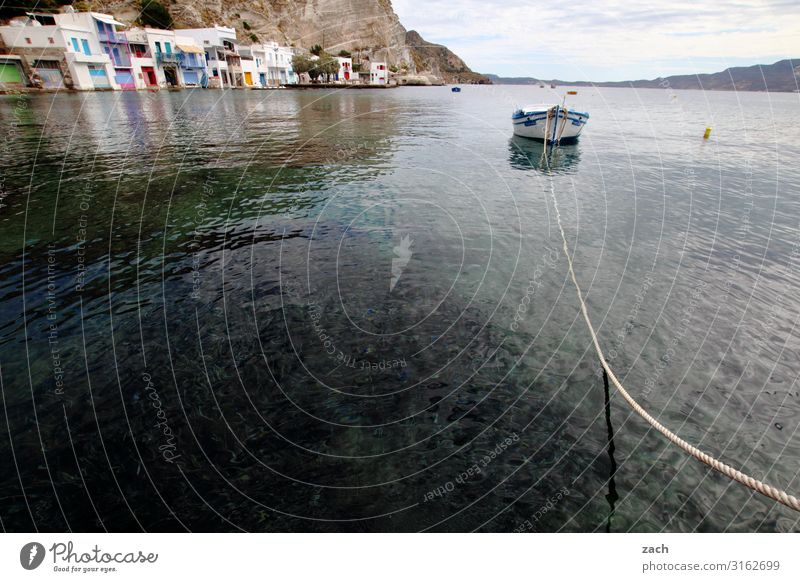 Living by the water Landscape Hill Rock Coast Ocean Mediterranean sea Aegean Sea Island Cyclades Milos Greece Village Fishing village Old town Deserted