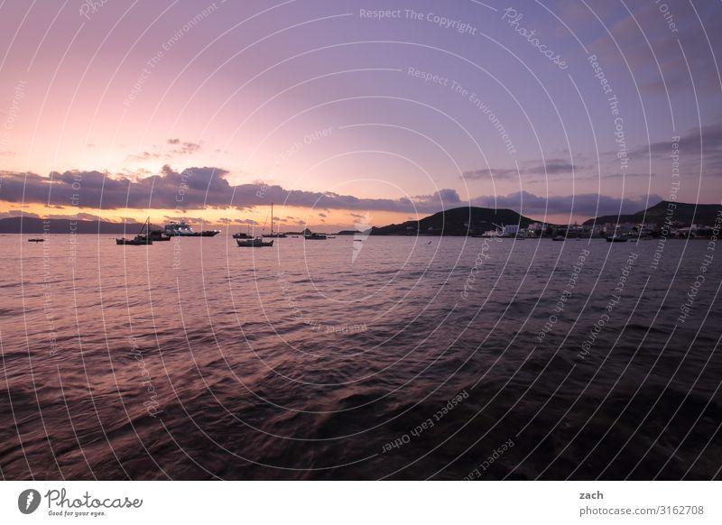 early riser Landscape Water Sky Clouds Sunrise Sunset Hill Coast Ocean Mediterranean sea Aegean Sea Island Milos Cyclades Greece Fishing boat Rowboat Harbour