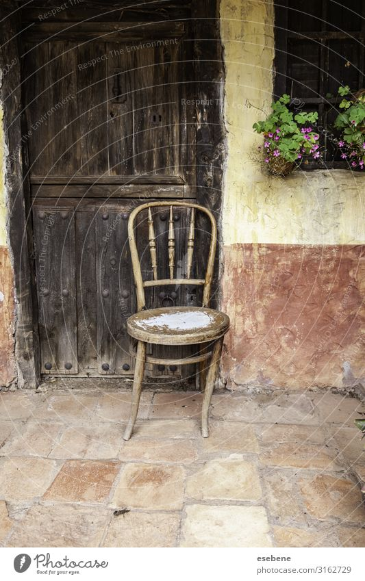 Old abandoned wooden chair Style Design House (Residential Structure) Furniture Chair Building Stone Wood Rust Sit Dirty Dark Natural Retro Brown Loneliness