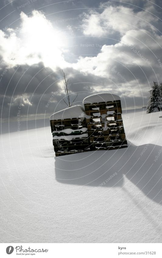 pallets in winter Winter Clouds Cold White Deep Horizon Dark Mountain Snow Shadow Sun Bright Sky Blue