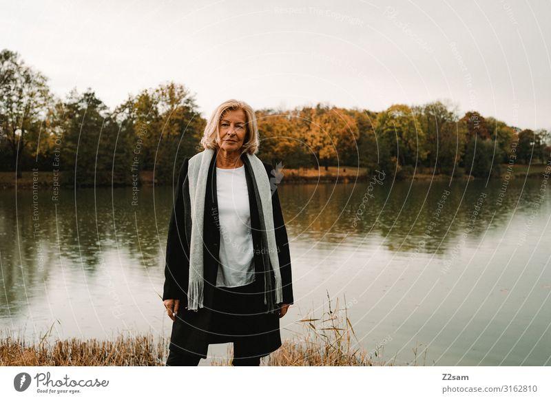 Woman Nature Beautiful Landscape Calm Lifestyle Adults Autumn Senior citizen Natural Happy Style Fashion Lake Elegant Blonde