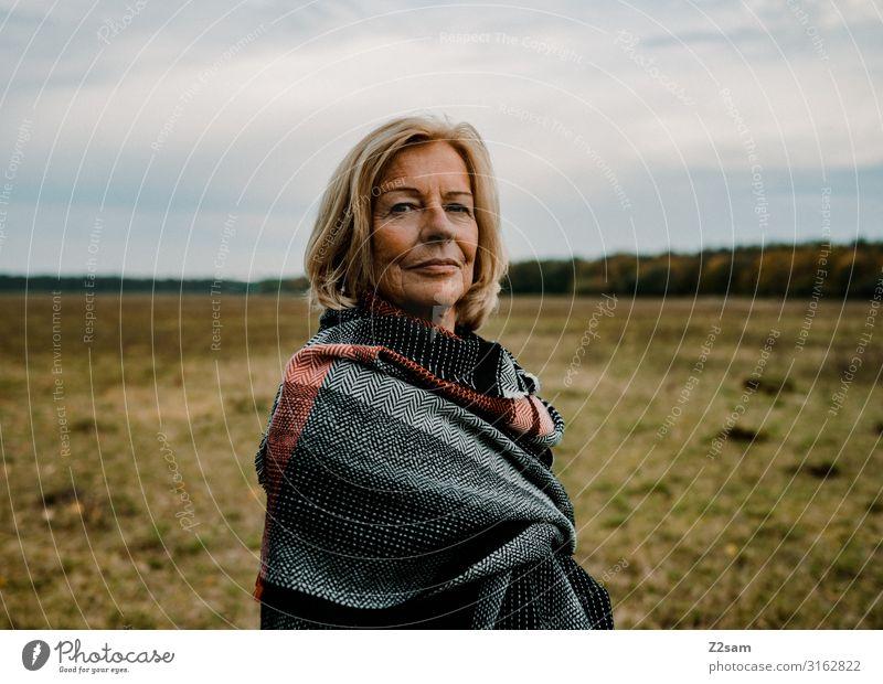 Woman Nature Beautiful Landscape Clouds Far-off places Healthy Autumn Senior citizen Natural Feminine Meadow Style Contentment Elegant Blonde