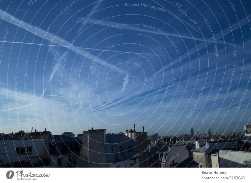 Sky over Paris Clouds Vapor trail Paris Métro Wall (barrier) Wall (building) Facade Fireside Window Roof Eaves Chimney Work and employment Breathe Movement