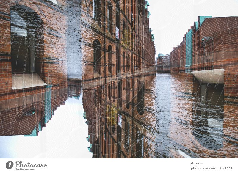 Water Movement Above Crazy Perspective Hamburg Tourist Attraction Manmade structures Harbour Old town River bank Under Double exposure Surrealism Channel