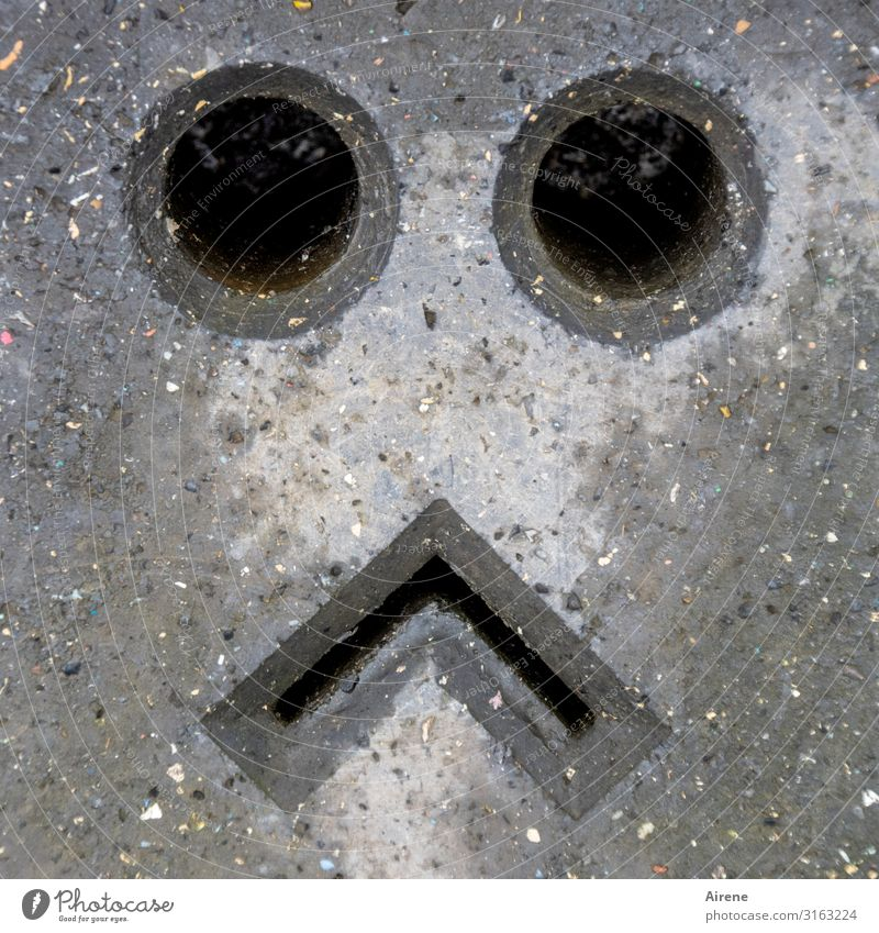 Town Loneliness Dark Face Eyes Sadness Gray Mouth Circle Concrete Sign Barrier Sharp-edged Hollow Disappointment Triangle
