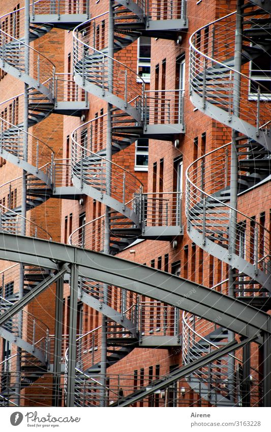 Town Red Window Architecture Facade Gray Fear Stairs Metal Esthetic Bridge Hamburg Safety Many Fear of heights Hip & trendy