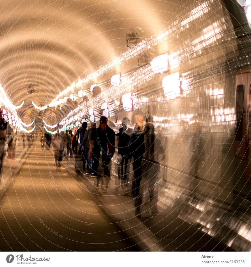 down through | UT Hamburg Group Cycling Pedestrian Driving Old Large Historic Round Under Town Yellow Gold Black Long Tunnel Double exposure Enliven Spooky