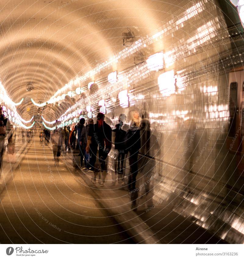 Group Cycling Hamburg Driving Long Tunnel Elbtunnel