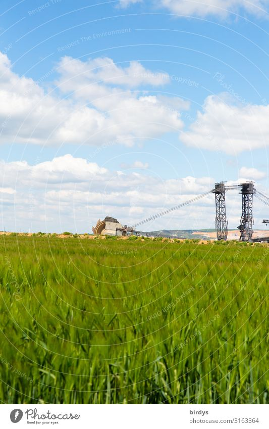 In front of the pit edge Agriculture Forestry Soft coal dredger Environment Landscape Sky Clouds Spring Climate change Beautiful weather Field Grain field