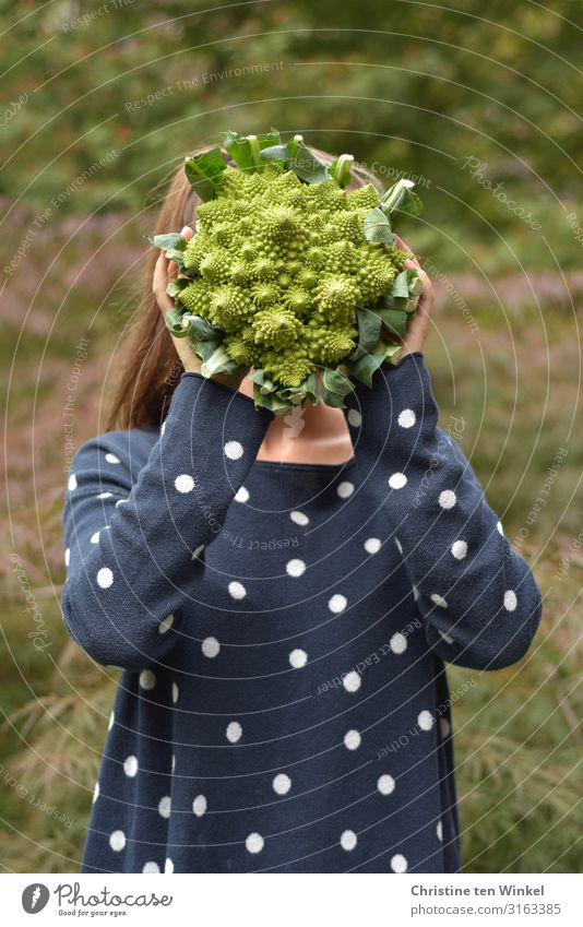 young woman in blue sweater holding a Romanesco in front of her face Food Vegetable Nutrition Organic produce Vegetarian diet Diet Human being Feminine