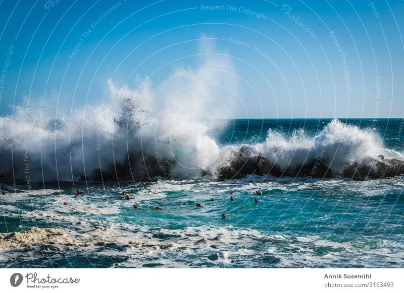 Waves break on rocks in the sunshine Senses Relaxation Swimming & Bathing Fishing (Angle) Fishery Environment Nature Landscape Elements Air Water Drops of water