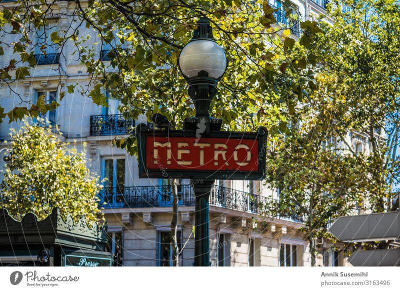 Paris Art Nouveau Metro Sign Public transit Train travel Tunnel Rail transport Underground Rail vehicle Train station Shopping Driving Vacation & Travel Red