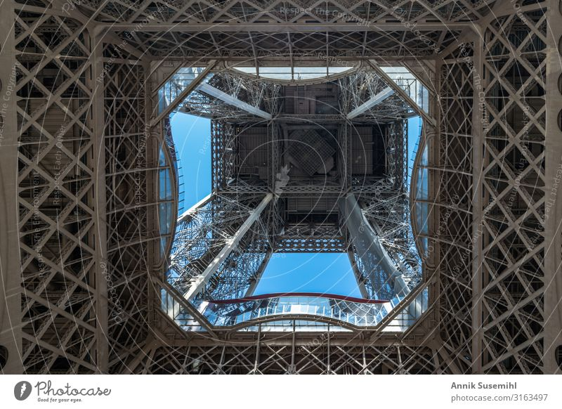 Eiffel Tower Paris - Steel sky France Europe Capital city Downtown Manmade structures Landmark Metal Esthetic Historic Fear of heights Colour photo