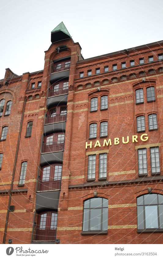 Facade of a historical building in the Speicherstadt Hamburg Town Port City Manmade structures Building Architecture Window Landmark Old warehouse district