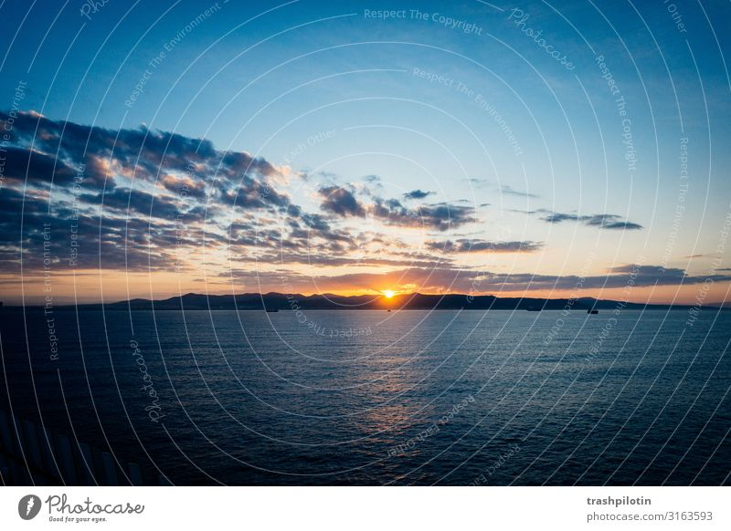 Sunrise over sea Nature Landscape Sky Clouds Sunset Sunlight Vacation & Travel voyage Cruise Ocean Cloud formation Cloud pattern Colour photo Dawn