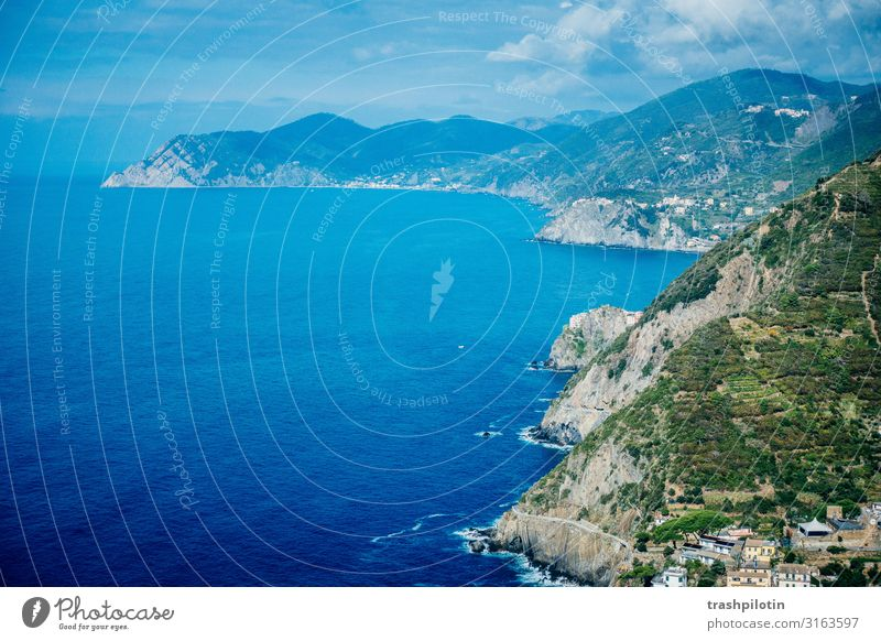Italian Coast II Nature Landscape Water Waves Bay Ocean Cinque Terre Italy Europe Vacation & Travel World heritage Rock Colour photo Deserted Copy Space left