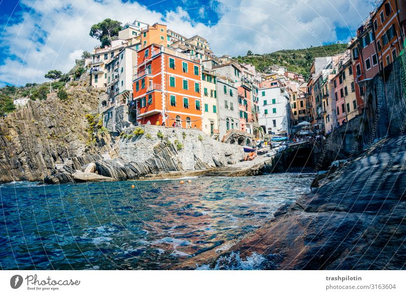 CINQUE TERRE Nature Landscape Summer Waves Ocean Riomaggiore Italy Europe Small Town House (Residential Structure) Facade Tourist Attraction Landmark
