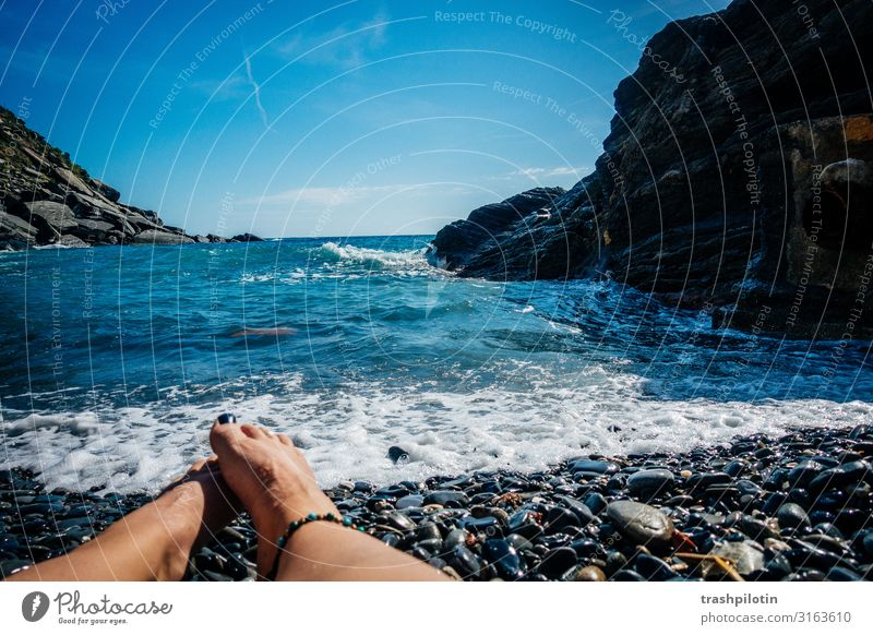Missing the Waves Rock Vernazza Italy Europe Fishing village Port City Vacation & Travel Wanderlust Cinque Terre Ocean White crest Feet Swimming & Bathing Stone