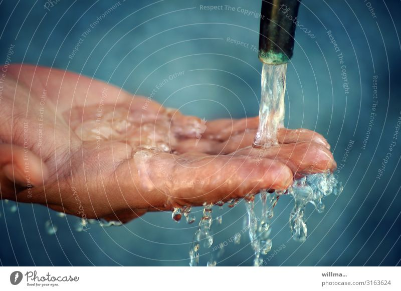 Water, the elixir of life, flows on hand Hand Fingers Tap Cold Wet Drops of water Dripping Refreshment Neutral Background Clean hygiene cleaning Fresh