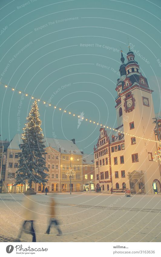 Christmas market place with Christmas tree Christmas & Advent Winter Snow Chemnitz Marketplace City hall Illuminate Lighting Fairy lights Subdued colour