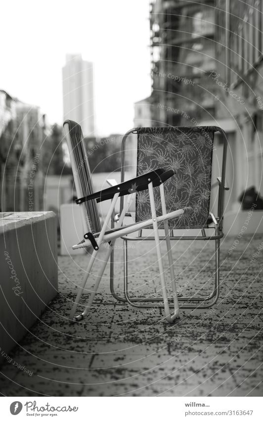 Camping chairs in the city centre Chair Terrace Town City life Chemnitz Brühl Black & white photo Deserted Boulevard Folding chairs urban Promenade downtown