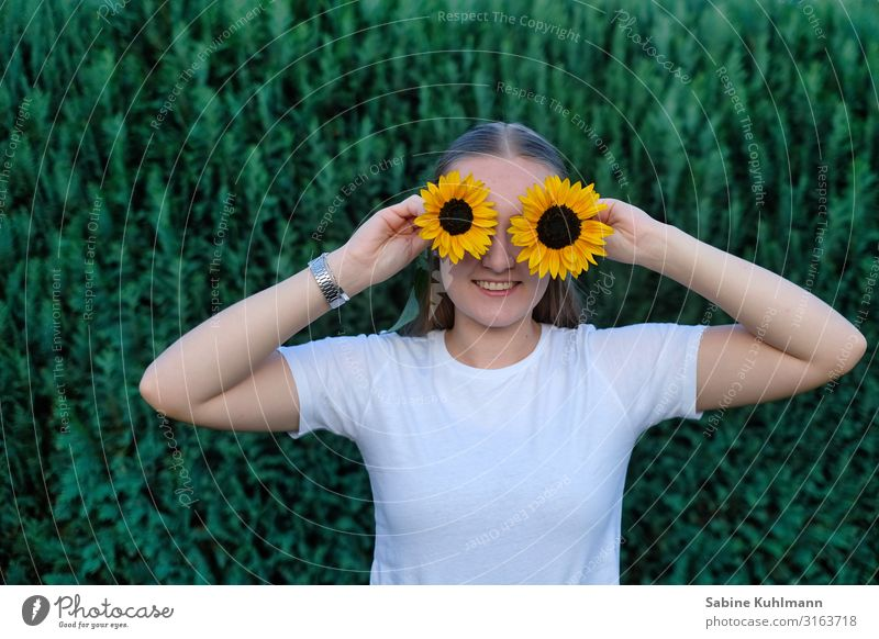 sunflowers Human being Feminine Young woman Youth (Young adults) 1 18 - 30 years Adults Nature Summer Sunflower Garden T-shirt Blossoming Smiling Stand
