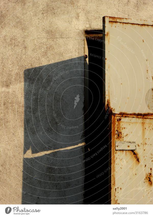 mysterious old door... Goal House (Residential Structure) Building Old rusty Rust Shadow Mysterious Open Metal Metal door Entrance Exterior shot Front door
