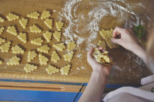 more biscuits Cookie Christmas biscuit Christmas baking Christmas & Advent Baking Dough Interpretation Candy fir trees Pierce Delicious Sugar Sweet Flour