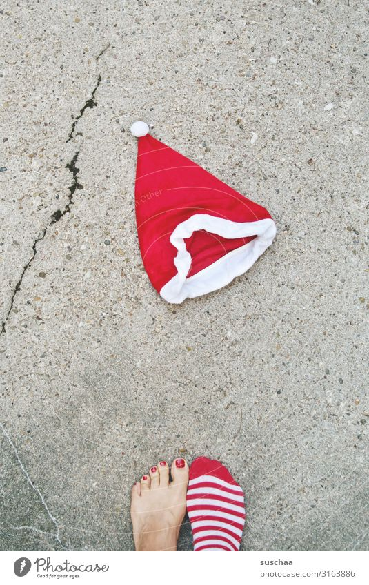 Christmas & Advent Red Street Cold Funny Feet Tradition Asphalt Santa Claus Barefoot Crack & Rip & Tear Stockings Strange Striped Climate change Toes