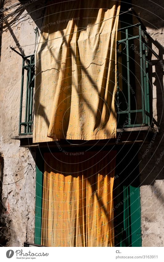 via lume Warmth Palermo Italy Southern Europe Sicily Wall (barrier) Wall (building) Window Drape Cloth Esthetic Orange Screening Private sphere Colour photo