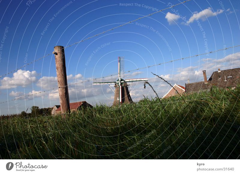 Sky Green Blue Clouds Meadow Grass Wood Perspective Fence Wire Pole Central Electronic Windmill