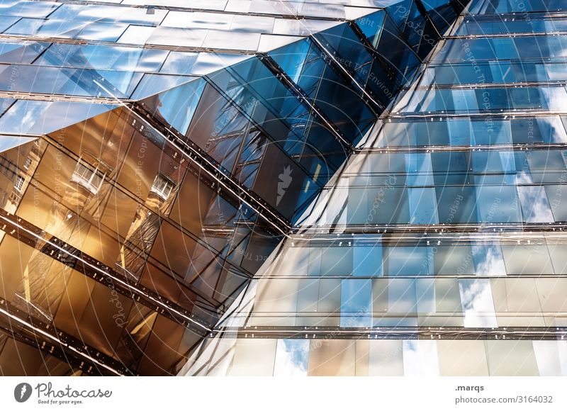 Futuristic facade Facade Reflection Architecture Sharp-edged Building Futurism Modern Glass Window,