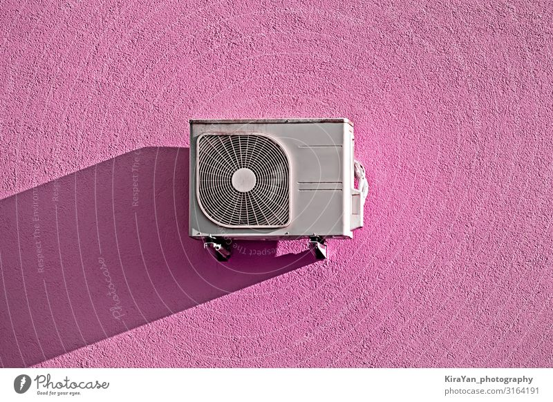 Modern air conditioner compressor on pink wall Lifestyle Design Air conditioning Technology Rotate Freeze Feeding Cleaning Success Might Safety (feeling of)