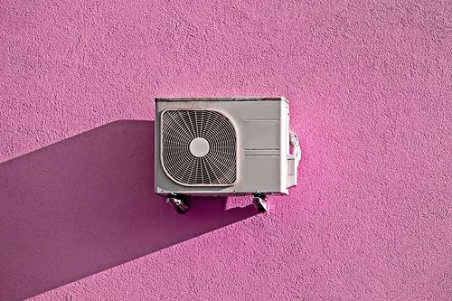 Modern air conditioner compressor on pink wall House (Residential Structure) Relaxation Healthy Lifestyle Wall (building) Cold Copy Space Pink Design