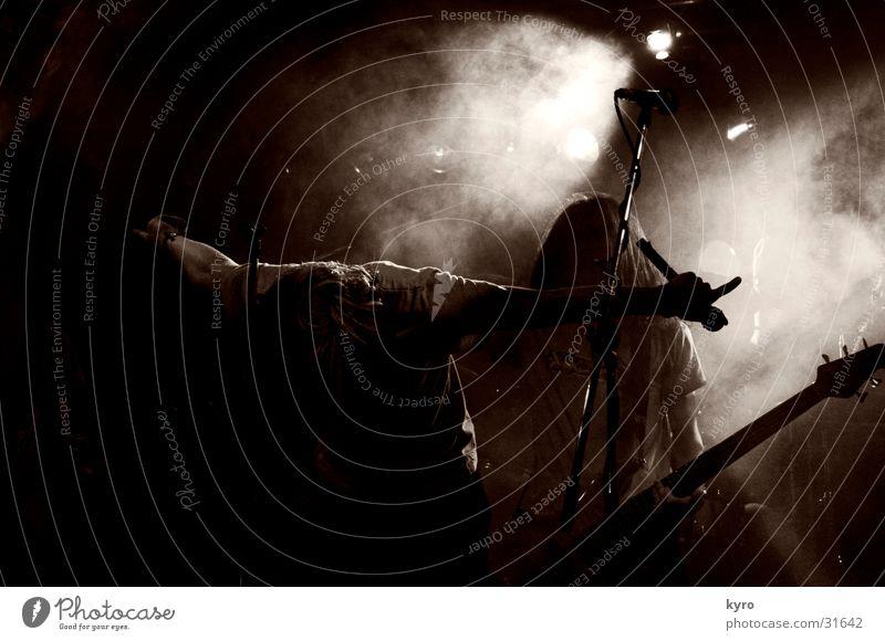 Dark Music Fog Shows Concert Rock music Guitar Stage Fan Share Loud Drum set Singer Intensifier