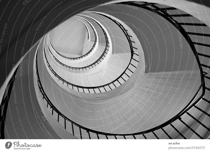 ascent Stairs Elegant Gray Beautiful Staircase (Hallway) Banister Bauhaus Concrete Spiral Square Circle Shadow Black & white photo Interior shot Pattern