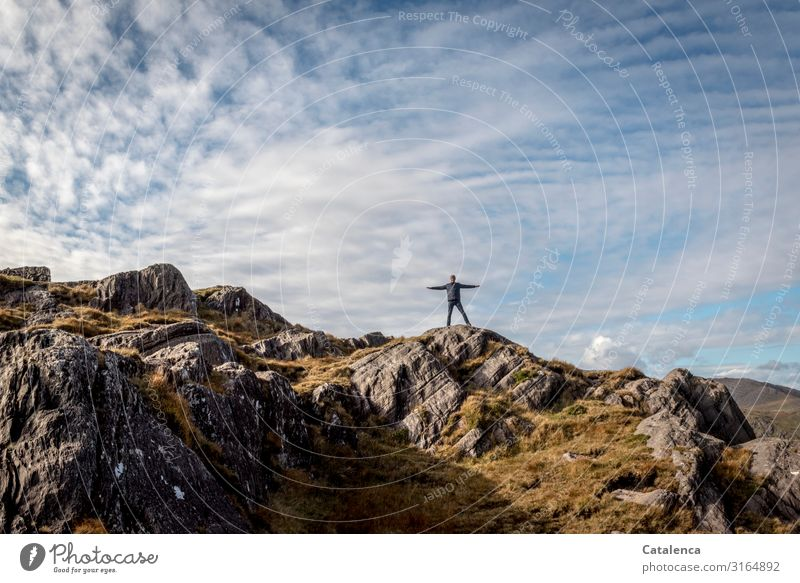 Human being Sky Nature Blue Landscape Clouds Joy Far-off places Mountain Autumn Grass Brown Gray Rock Leisure and hobbies Hiking