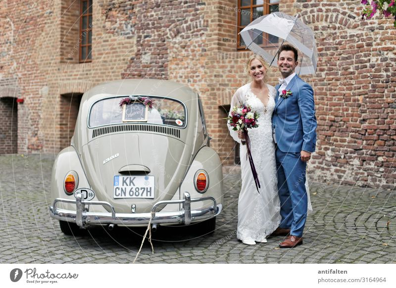 autumn wedding Bride bridal couple Wedding Wedding dress Dress Colour photo Love Romance pretty White Day Woman Feasts & Celebrations Happiness Married Man
