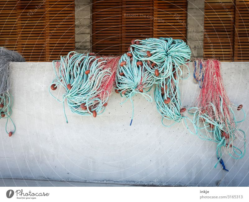 fishing nets Fishing village Port City Deserted Wall (barrier) Wall (building) Navigation Fishing boat Harbour Fishing net Hang Authentic Arrangement