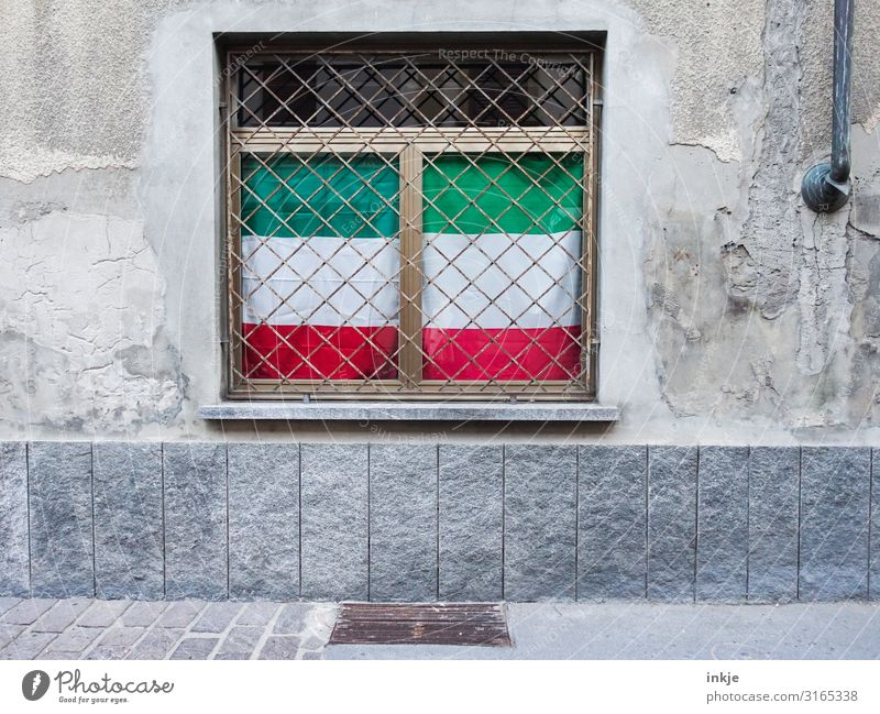 Italy flags in North Rhine-Westphalia look Small Town Deserted Facade Window Grating Stripe Flag Authentic Patriotism Cloud cover Green White Red Colour photo