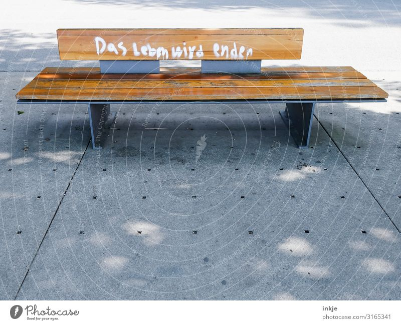 Naked fact Deserted Places Marketplace Wooden bench Bench Park bench Characters Graffiti Authentic End Apocalyptic sentiment Life Death Recently Wisdom