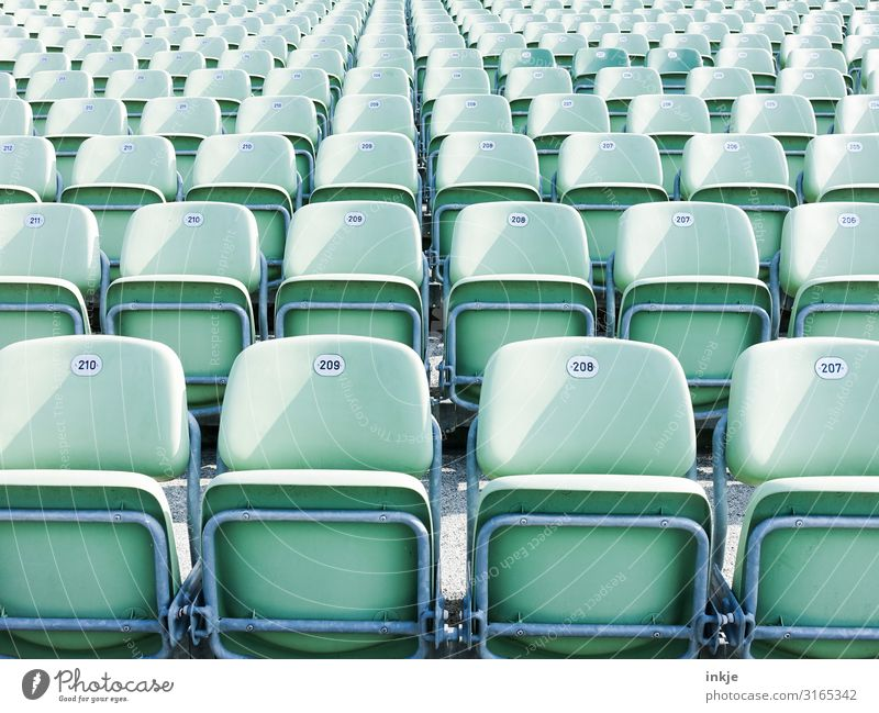 open-air theatre Event Row of seats Folding chair Open-air theater Deserted Seat Digits and numbers Authentic Mint green Many Frontal Colour photo