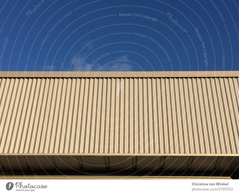 Building with clad facade in front of a blue sky Sky House (Residential Structure) Wall (barrier) Wall (building) Facade Flat roof Cladding Line Stripe