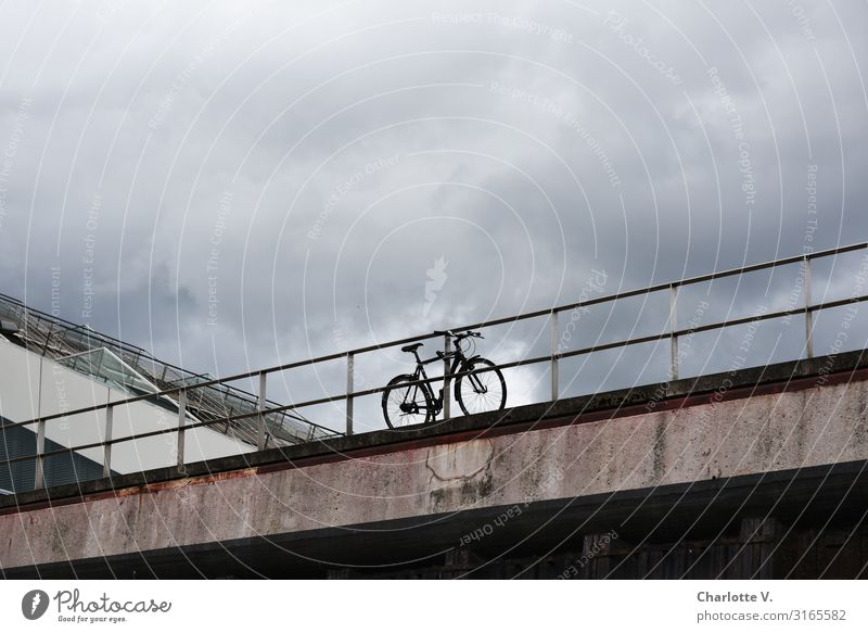 Bicycle station | UT HH19 Cycling Fitness Sports Training Sky Clouds Storm clouds Bad weather Bridge Bridge railing Means of transport Vehicle Concrete Metal