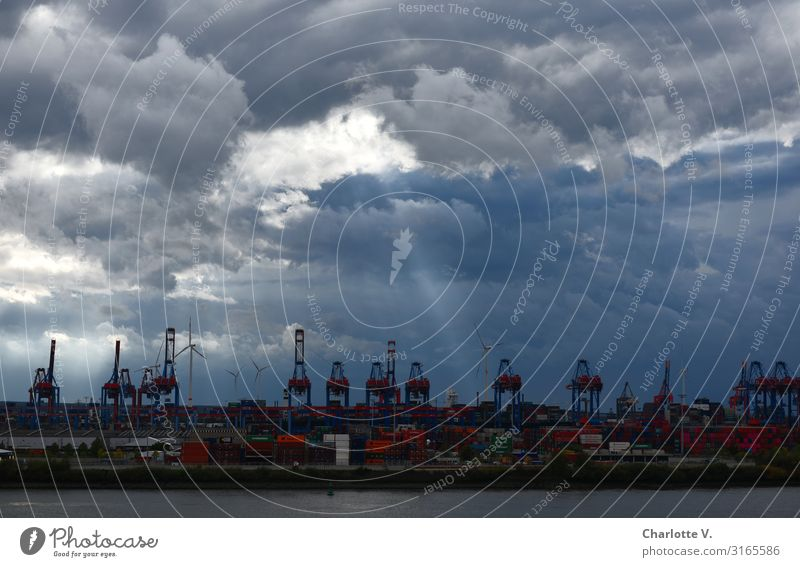 Fingertip   UT HH19 Environment Nature Elements Sky Clouds Storm clouds Sunlight Bad weather Hamburg Port of Hamburg Town Port City Harbour Navigation Container