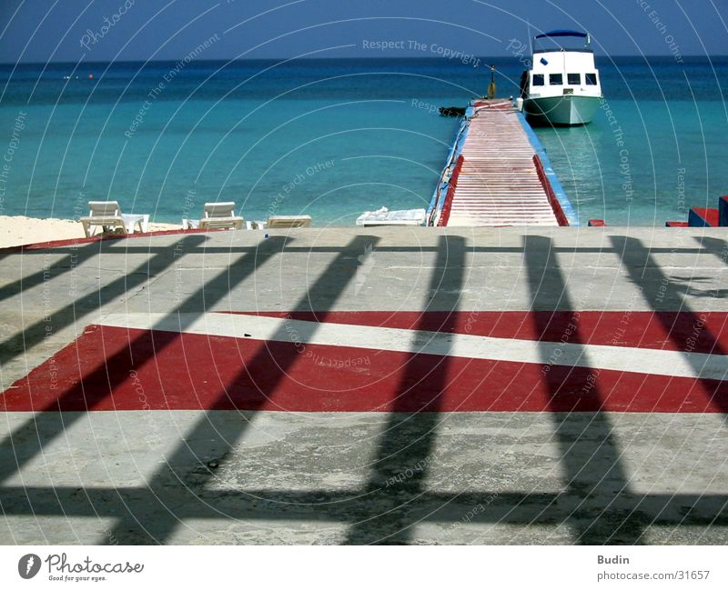 Ocean Red Beach Vacation & Travel Watercraft Horizon Trip Stripe Cuba Turquoise Footbridge Arrival Joist