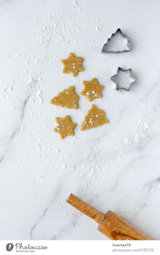 Gingerbread cookie dough for Christmas Food Dough Baked goods Cake Dessert Nutrition Winter Decoration Table Kitchen Feasts & Celebrations Christmas & Advent