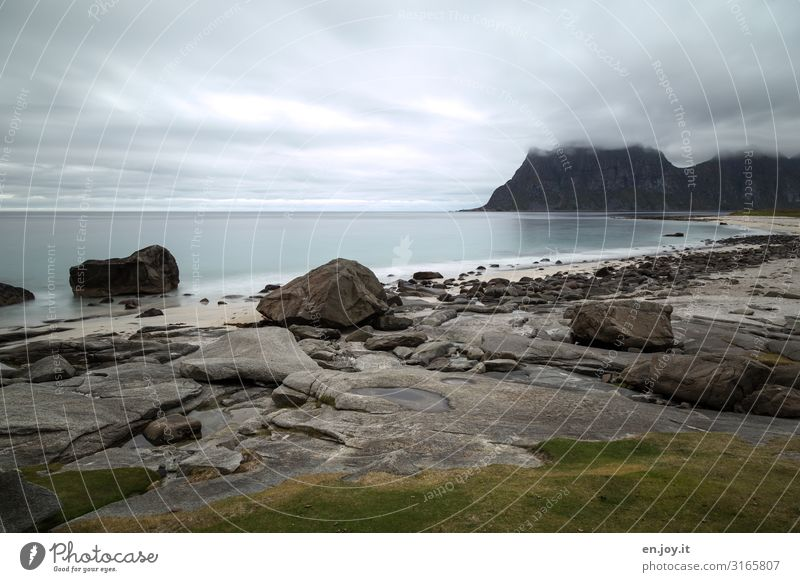 uttacleiv Vacation & Travel Trip Far-off places Beach Ocean Nature Landscape Sky Horizon Bad weather Rock Mountain Norway Scandinavia Lofotes Sadness Loneliness