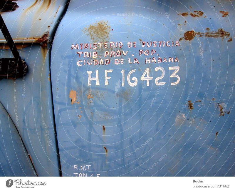Old Blue Car Door Transport Logistics Characters Truck Cuba Rust Havana