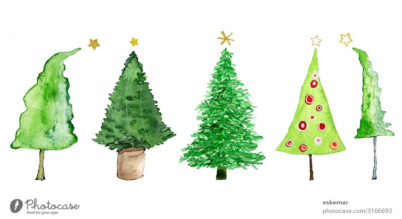 Christmas trees, watercolour on paper Feasts & Celebrations Christmas & Advent New Year's Eve Art Work of art Painting and drawing (object) Watercolors Painted